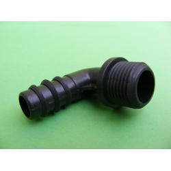 16x16 mm Bir Ucu Yivli Bir Ucu Kurt Ağızlı L Boru Ek Parçası
